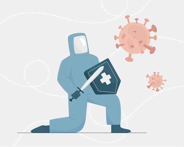 Il dottore combatte contro il virus