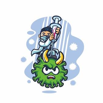 Fumetto di vettore del virus della corona di lotta del medico