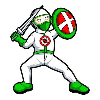 Medico che combatte l'illustrazione di progettazione del carattere della mascotte del virus corona