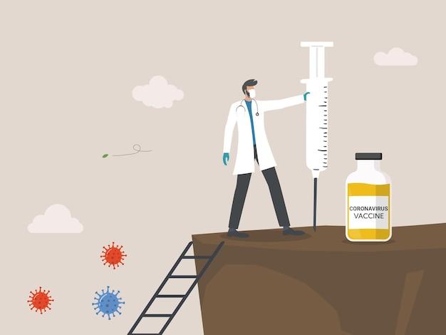 Il dottore ha trovato il vaccino per il coronavirus, lo sviluppo del vaccino è pronto per il trattamento, buona salute anno nuovo 2021