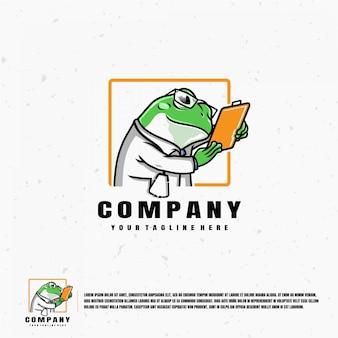 Modello di logo dell'illustrazione di doctor frog