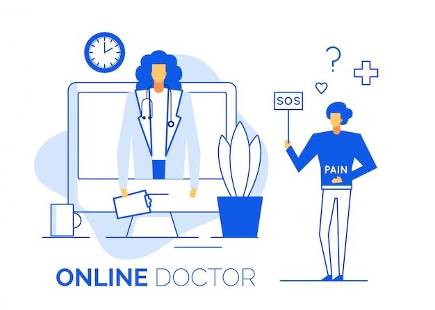 Il medico fornisce consulenza online al paziente malato