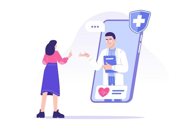 Medico che dà consigli al paziente in linea