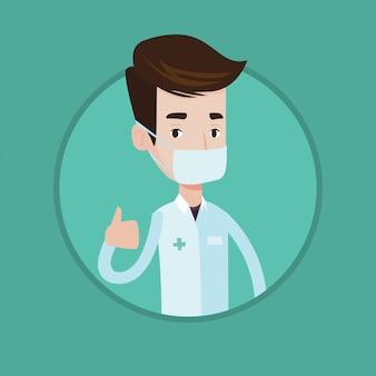 Medico che dà i pollici aumenta l'illustrazione di vettore.