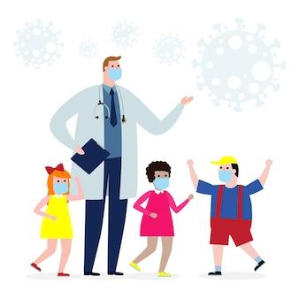 Medico e gruppo di bambini che indossano mascherina medica contro il coronavirus