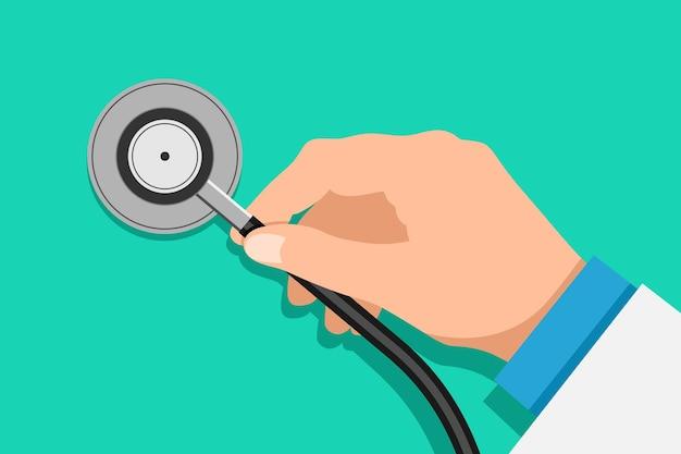Illustrazione piana di vettore di sanità di ispezione dell'attrezzatura medica dello stetoscopio della tenuta della mano di medico su