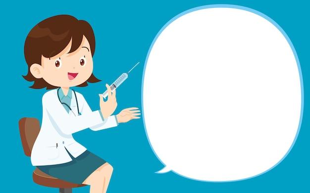 Il dottore ha un vaccino per iniezione per le persone, il dottore dà un vaccino contro il coronavirus con un discorso a bolle