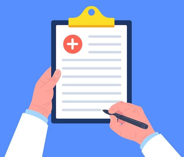 Medico che tiene appunti e prende appunti su di esso. blocco di prescrizione medica. . Vettore Premium
