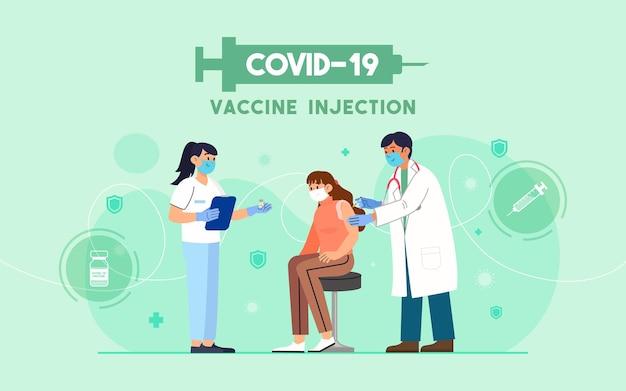 Un medico inietta un vaccino covid-19 in un'illustrazione di un paziente