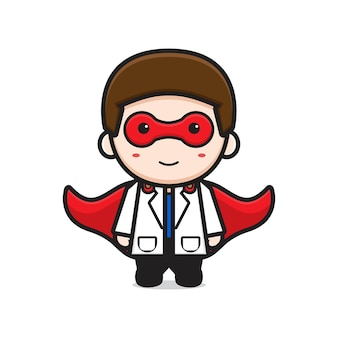 Il dottore è l'illustrazione di vettore dell'icona del fumetto dell'eroe. design piatto isolato in stile cartone animato isolated