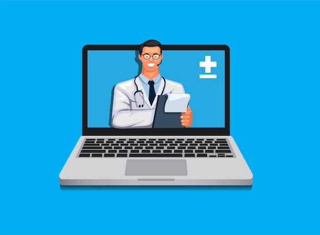 Medico sull'illustrazione di concetto di consultazione medica in linea del computer portatile