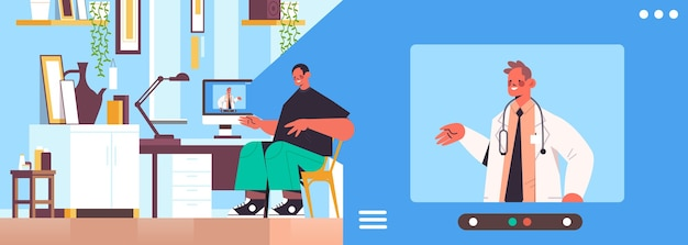 Medico sullo schermo del laptop consulenza paziente maschio consultazione online servizio sanitario medicina consulenza medica concetto soggiorno interno ritratto orizzontale