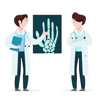 Medico che esamina i raggi x. l'operatore di medicina fa l'esame