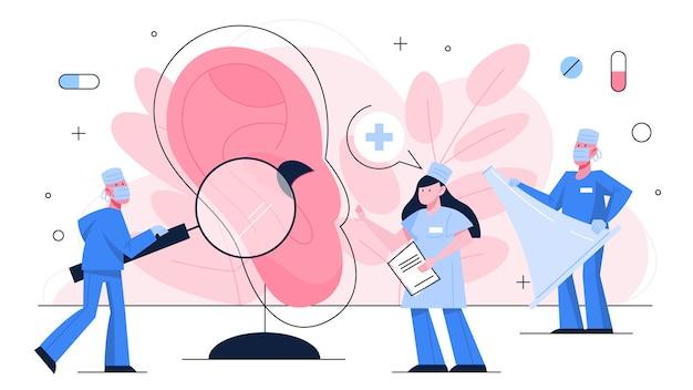 Il medico fa il concetto di esame dell'orecchio. idea di cure mediche e assistenza sanitaria. strumento di otorinolaringoiatria.