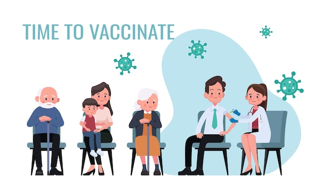 Il medico fa un'iniezione di vaccino antinfluenzale agli uomini nell'illustrazione dell'ospedale