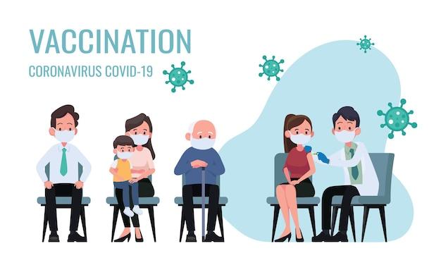 Il medico fa un'iniezione di vaccino antinfluenzale alle donne nell'illustrazione dell'ospedale