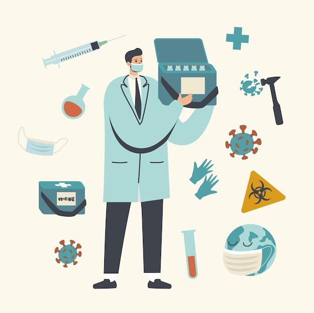 Doctor male character hold box con bottiglie di vaccino per combattere con le cellule virali
