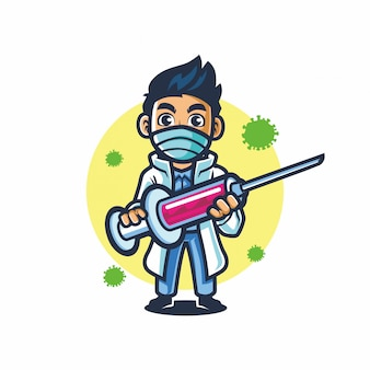 Doctor mascot design vector hold injection fight covid 19