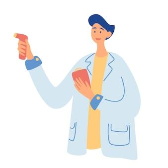 Un medico misura la temperatura. misurazione della temperatura senza contatto nell'uomo. protezione dal coronavirus, assistenza sanitaria. illustrazione vettoriale in uno stile piatto