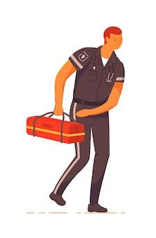 L'ambulanza del medico medico con la scatola del kit di pronto soccorso si affretta ad aiutare
