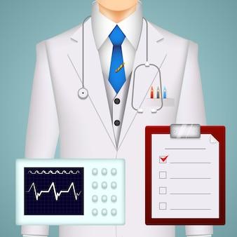Medico e cartelle cliniche e sfondo di scansioni con un tracciato dell'elettrocardiogramma