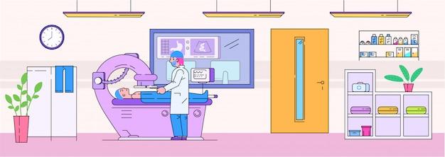 Illustrazione d'esame del dottore mri, linea personaggio dei cartoni animati uomo paziente sull'esame dello scanner mri, medicina diagnostica sanitaria