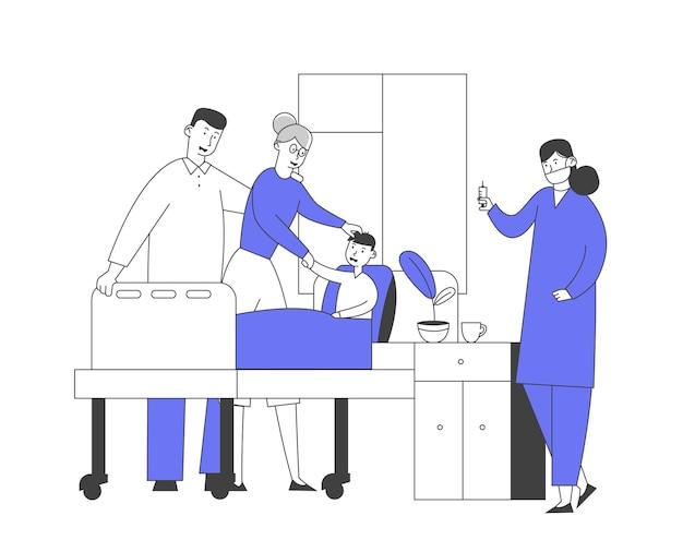 Medico e infermiere in camera in visita al piccolo paziente. medicina, assistenza sanitaria, medico personale medico e ragazzo con la madre nel trattamento di diagnosi di consultazione ospedaliera