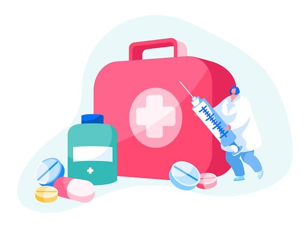 Carattere di medico o infermiere in abito bianco
