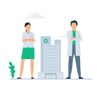Illustrazione di concetto di medico e infermiere