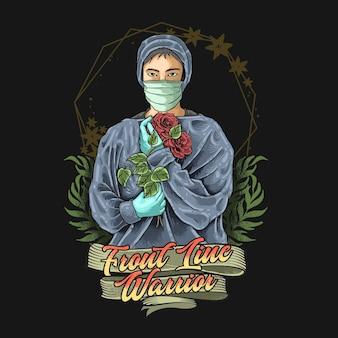 Medico e infermiere prima linea guerriero illustrazione vettoriale