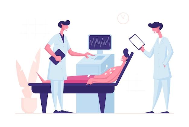 Medico e infermiere scansione giovane paziente maschio sulla macchina ad ultrasuoni nella camera di ospedale