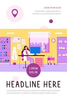 Ufficio medico in clinica medico femminile seduto alla scrivania in camera con rimedi e cartelle