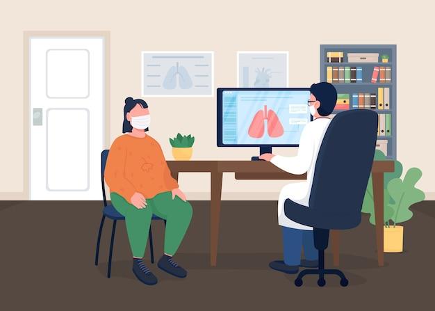 Medico e paziente in maschere illustrazione di colore piatto esame sanitario medicina toracica specialista in pneumologia e personaggi dei cartoni animati visitatore ospedale con interni clinica