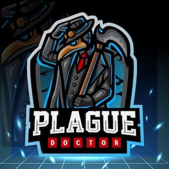Disegno del logo esport della mascotte della peste del dottore