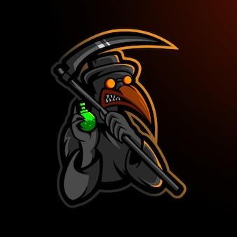 Disegno del logo della mascotte del dottore plague