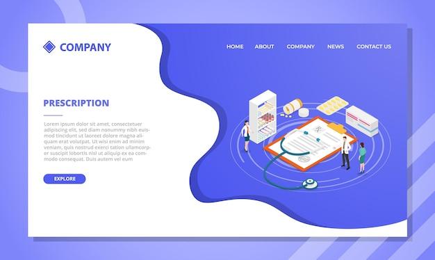 Concetto di prescrizione del medico. modello di sito web o design della homepage di atterraggio con stile isometrico
