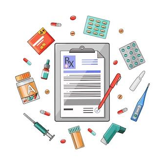Prescrizione del medico e pillole di prescrizione. medicina termometro, compresse, appunti con rx.