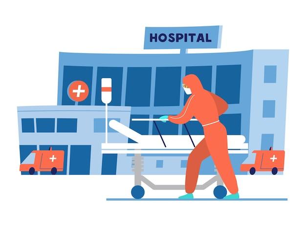 Medico in abbigliamento protettivo con letto medico vuoto davanti all'edificio dell'ospedale. illustrazione.