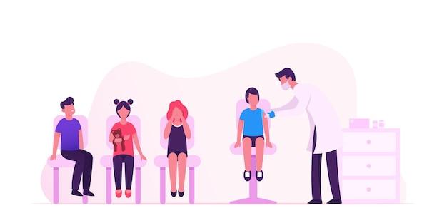 Il dottore mette l'iniezione di vaccino con la siringa ai bambini. cartoon illustrazione piatta