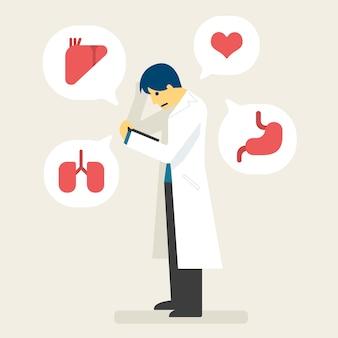 Il medico legge il rapporto e diagnostica l'illustrazione della malattia.