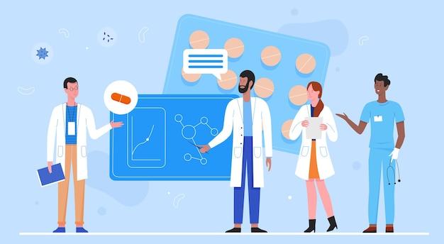 Team di ricercatori medici e scienziati che ricercano