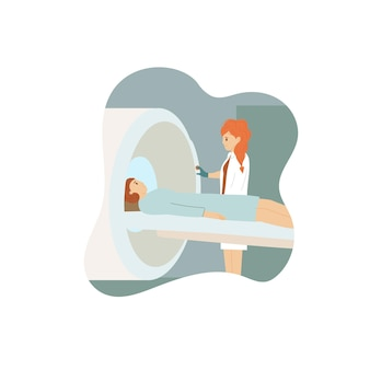 Paziente di scansione del medico con la macchina di risonanza magnetica isolata su white