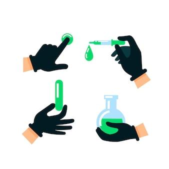 Mani di medico o scienziato in guanti di lattice
