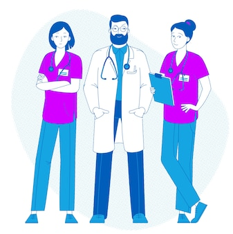 Dottore in piedi con gli infermieri. medico con lo stetoscopio. giornata da infermiera. assistenza sanitaria. giovane medico in uniforme. medicinale.