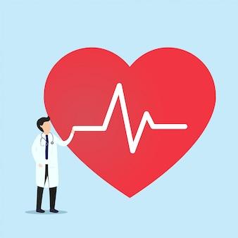 Medico in piedi con il segno del battito cardiaco. concetto di salute. illustrazione.