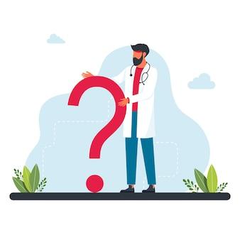 Il dottore si trova di fronte a un grande punto interrogativo. domande al medico sulla malattia, consultazione online, faq. chiedi al dottore. dottore, il medico è in piedi davanti a un punto interrogativo.