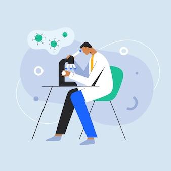 Medico che studia il coronavirus nel laboratorio di ricerca covid