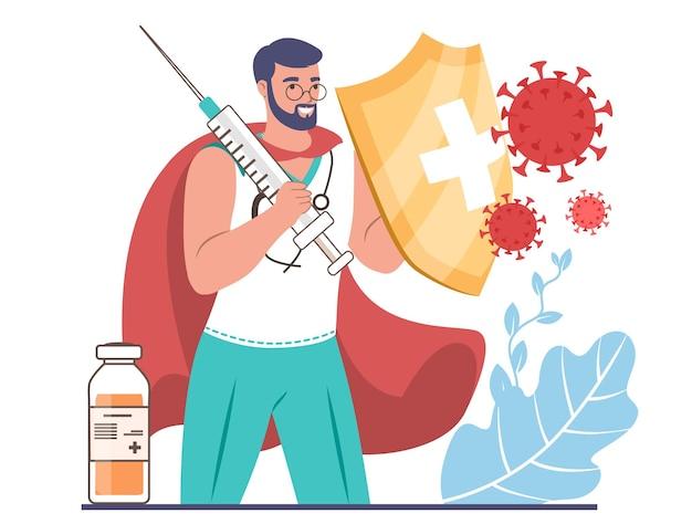 Supereroe medico con iniezione di vaccino e scudo che protegge dal coronavirus, illustrazione vettoriale piatta. vaccinazione.