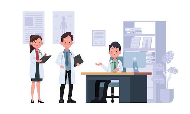 Il dottore parla con il dottore nell'illustrazione della stanza d'ospedale