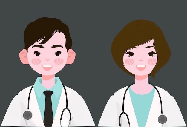 Illustrazione vettoriale di medico. medico di sesso maschile e femminile in uniforme illustrazione.